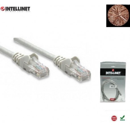 Patch Cord 100% miedź Intellinet Cat.6 UTP, 7,5m, szary ICOC U6-6U-075