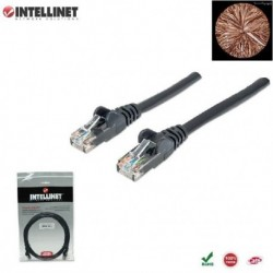 Patch Cord 100% miedź Intellinet Cat.6 UTP, 1,5m, czarny ICOC U6-6U-015-BK