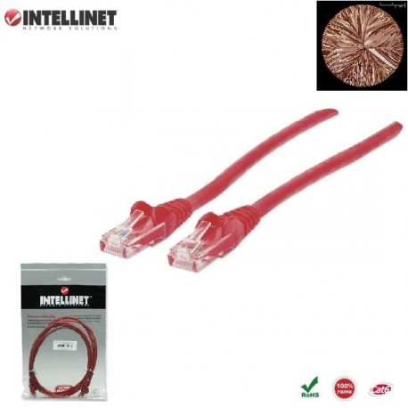 Patch Cord 100% miedź Intellinet Cat.6 UTP, 1m, czerwony ICOC U6-6U-010-RE
