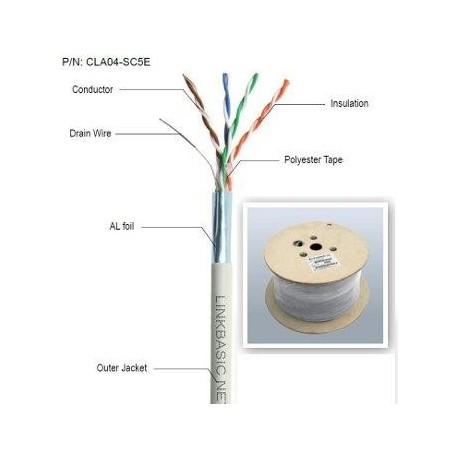 Kabel FTP drut kat. 5e - szpula 305m - 100% miedź Linkbasic