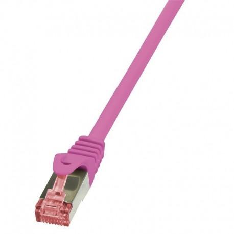 Patchcord LogiLink CQ2019S CAT.6 S/FTP 0,25m, różowy