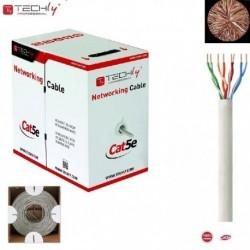 Kabel instalacyjny TechlyPro skrętka Cat5e UTP 4x2 drut 100% miedź 305m, szary ITP7-UTP-IC
