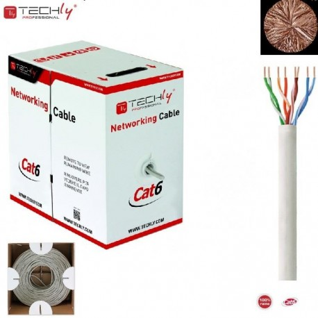 Kabel instalacyjny TechlyPro skrętka Cat6 UTP 4x2 drut 100% miedź 305m, szary ITP-C6U-RI