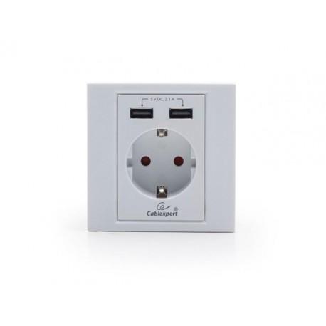 Gniazdko podtynkowe Gembird MWS-ACUSB2-01 230V pojedyncze + 2x USB 2.1A Schuko