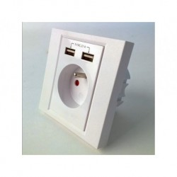 Gniazdko podtynkowe Gembird MWS-ACFUSB2-01 230V pojedyncze + 2x USB 2.1A