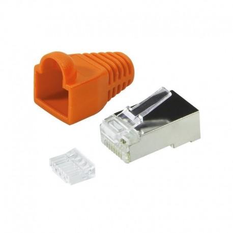 Wtyk RJ45 CAT.6 FTP LogiLink MP0022O z osłonką, pomarańczowy 100szt