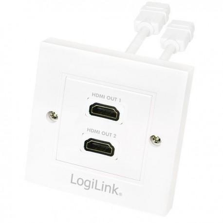 Gniazdo natynkowe 2x HDMI AH0015 LogiLink białe