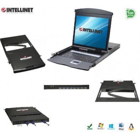 """Przełącznik KVM Intellinet 8-portowy USB/PS2 z konsolą LCD 17""""/1U IDATA KVM-LCD17"""