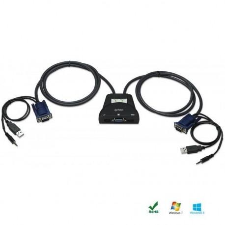 Przełącznik KVM Manhattan 2-portowy USB, Audio IDATA KVM-522U