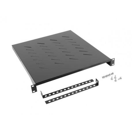 "Półka do szaf 19"" 800mm czarna Lanberg (1U/483x500mm udźwig do 25kg, montaż 4-punktowy)"