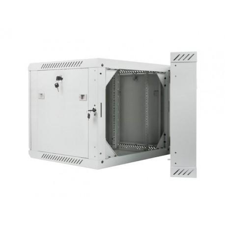 """Szafa instalacyjna dwusekcyjna wisząca 19"""" 9U 600x600 szara Lanberg (flat pack)"""