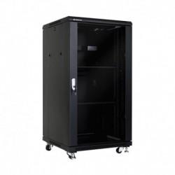 Linkbasic szafa stojąca rack 19'' 22U 600x600mm czarna (drzwi przednie szklane)