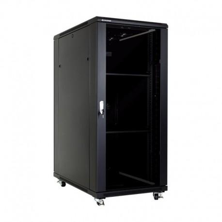 Linkbasic szafa stojąca rack 19'' 27U 600x1000mm czarna (drzwi przednie szklane)
