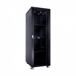 Linkbasic szafa stojąca rack 19'' 37U 600x800mm czarna (drzwi przednie szklane)