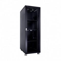 Linkbasic szafa stojąca rack 19'' 37U 600x1000mm czarna (drzwi przednie szklane)