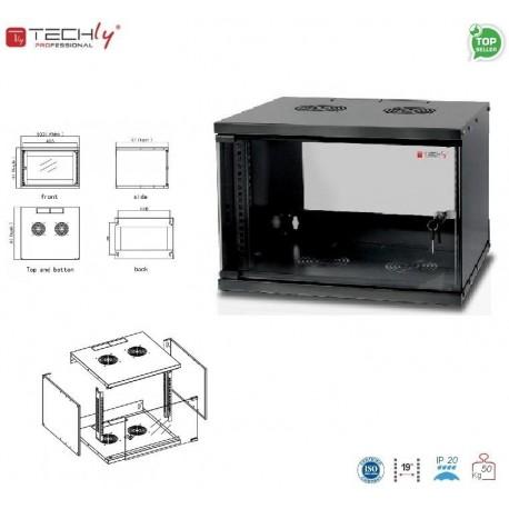 """Szafa wisząca TechlyPro ECO 19"""" 6U/450 zmontowana, czarna I-CASE EL-1006B45"""