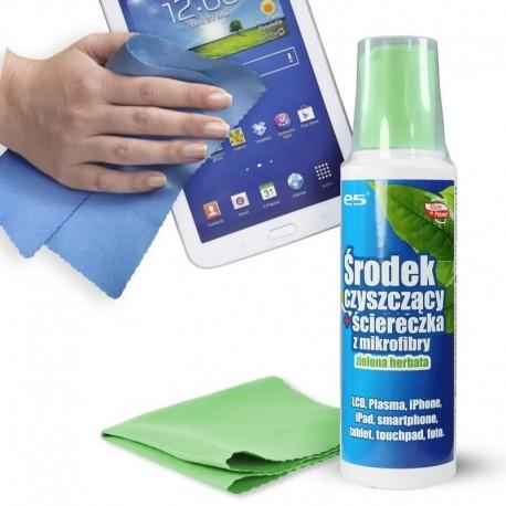 Zestaw do czyszczenia ekranów e5 LCD, PLASMA, SMARTPHONE, TABLET (płyn 250 ml + mikrofibra 20x20) o zapachu zielonej herbaty
