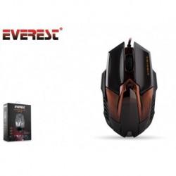 Mysz przewodowa Everest SM-616 optyczna Gaming 2000DPI LED czarno-złota