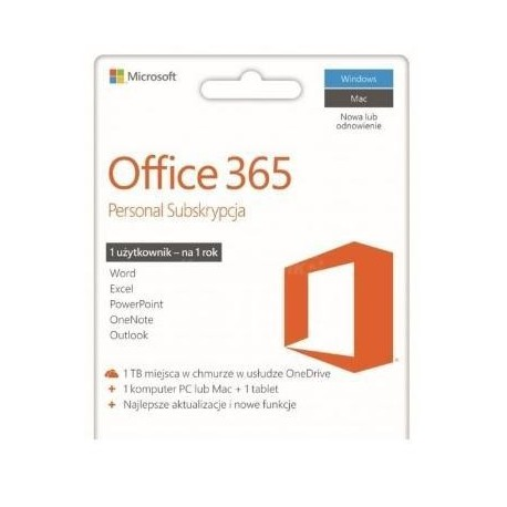 Oprogramowanie Office 365 Personal 32-bit/x64 Polski P2/ ZDRAPKA