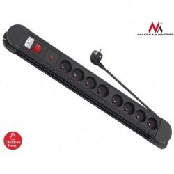 Listwa zasilająca przedłużacz Maclean MCE11 8 gniazd z 1 włącznik czarna 1,5m 2300W
