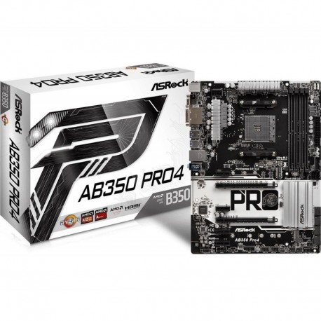 Płyta ASRock AB350 Pro4 /AMD B350/DDR4/SATA3/M.2/USB3.0/PCIe3.0/AM4/ATX