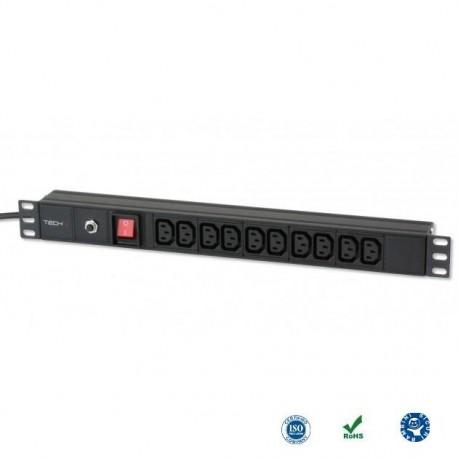 """Listwa zasilająca Rack19"""" do UPS TechlyPro 10 gniazd 2m czarna I-CASE STRIP-10C"""