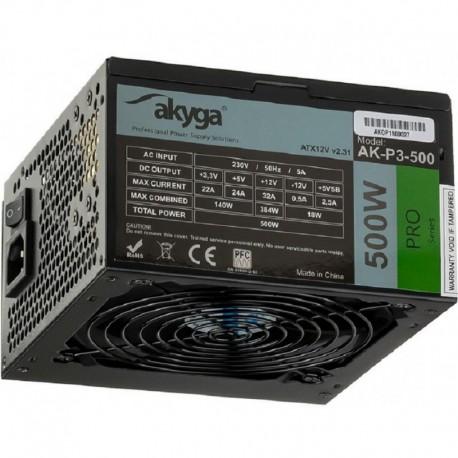 Zasilacz ATX 500W Akyga Pro AK-P3-500 Fan12cm P8 5xSATA 2xPCI-E
