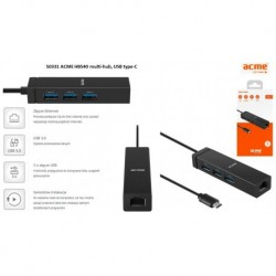 Hub USB ACME HB540, 3 porty USB 3.0 + LAN, wtyk USB 3.0 type-C