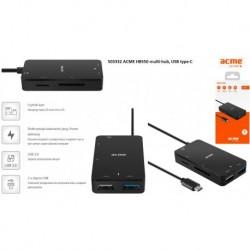 Hub USB ACME HB550, USB 2.0 + USB 3.0 + czytnik kart SD i microSD, wtyk USB type-C (z zasilaniem)