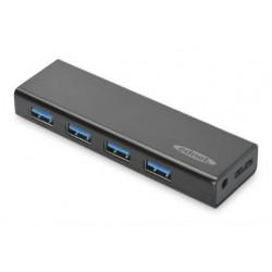 HUB/Koncentrator Ednet 4-portowy USB 3.0 SuperSpeed, aktywny, czarny