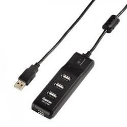 Hub USB 2.0 Hama 1:4 z funkcją wł/wył. czarny