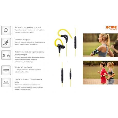 Słuchawki z mikrofonem ACME HE17 czarno-żółte