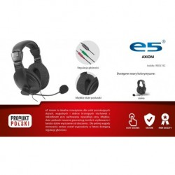 Słuchawki z mikrofonem e5 Axiom szare