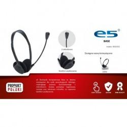 Słuchawki z mikrofonem e5 BASE czarne