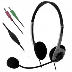 Słuchawki z mikrofonem e5 Auro srebrno-czarne