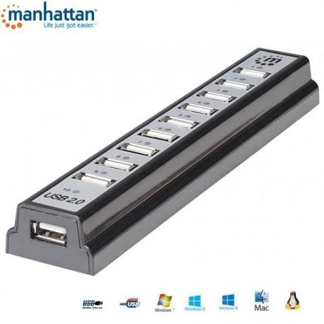 HUB USB Manhattan 10 portów 2.0 z zasilaczem IUSB2-HUB10