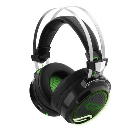 """Słuchawki z mikrofonem Esperanza """"Bloodhunter"""" Gaming czarno-zielone"""