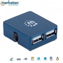 HUB USB Manhattan 4 porty 2.0 Micro, niebieski IUSB2-HUB605