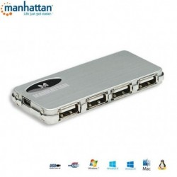 HUB USB Manhattan 4 porty 2.0 Slim+Zasilacz IUSB2-HUB612