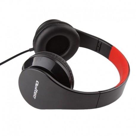 Słuchawki z mikrofonem Qoltec czarno-czerwone