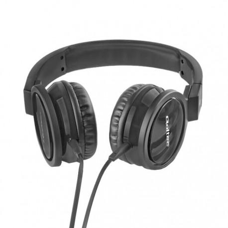 Słuchawki z mikrofonem Qoltec czarne + kabel do PC