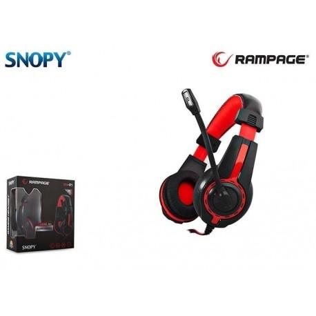 Słuchawki z mikrofonem Rampage SN-R1 Gaming czarno-czerwone