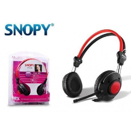 Słuchawki z mikrofonem SNOPY SN-58 czarno-czerwone
