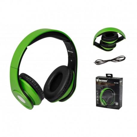 Słuchawki z mikrofonem VAKOSS SK-378E składane czarno-zielone