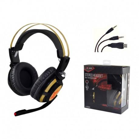 Słuchawki z mikrofonem X-ZERO X-H359KG Gaming wibracje super bass czarno-złote