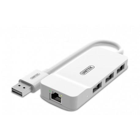 Hub USB Unitek Y-1470 3x USB 2.0 + FastEthernet