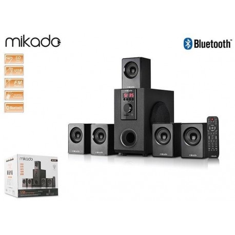 Głośniki Mikado MD-505 5+1 20W+5*10W Black USB+SD+FM+Bluetooth Pilot
