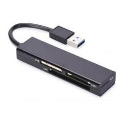 Czytnik kart Ednet 4-portowy USB 3.0 (CF, SD, MicroSD/SDHC, MS), czarny