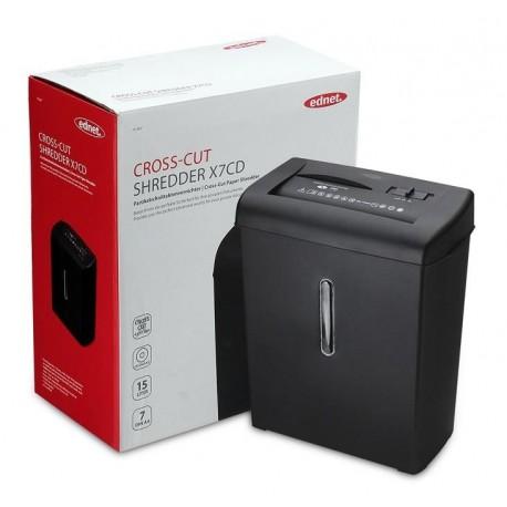 Niszczarka dokumentów, płyt, kart EDNET X7CD, elektryczna, 15L