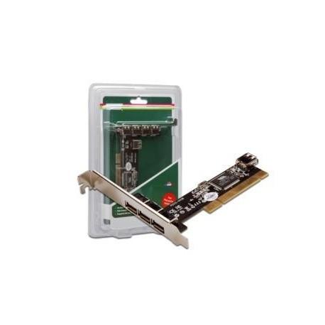 Kontroler USB2.0 DIGITUS PCI, 3xZew. 1xWew. USB2.0, Low Profile, Chipset: VIA 6212